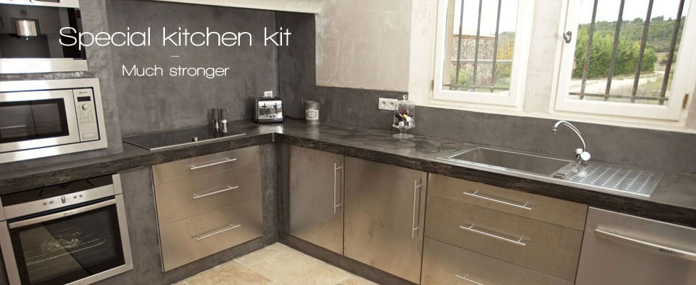 Kitchen and work plan waxed concrete kit