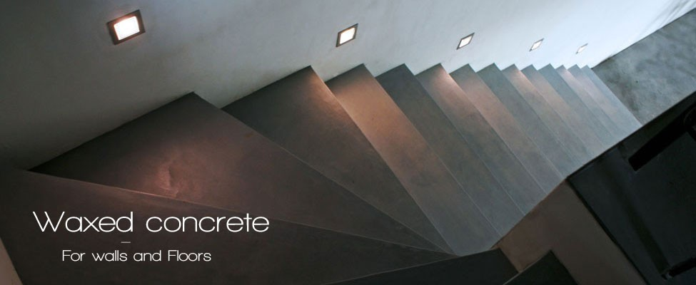 Waxed concrete stairs